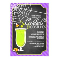 Chalkboard Halloween Cocktails and Costume Party Personalized Invitations | Created By reflections06