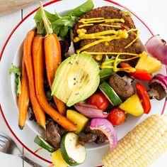 Who says veggies aren't fun? Praeger's Black Bean and Quinoa Veggie Burgers and classic veggie kabobs in this delicious Skewer Bowl. Quinoa Veggie Burger, Veggie Skewers, Dr Praeger's, Low Carb Keto, Vegetarian Recipes, Veggies, Lunch, Foods, Vegan