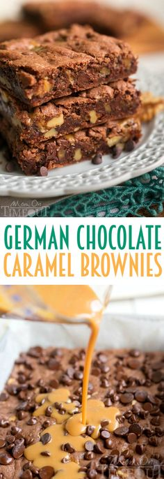These German Chocolate Caramel Brownies start with a cake mix but are some of the fudgiest brownies EVER! A sweet layer of caramel is the ultimate surprise inside these delicious and easy brownies! | MomOnTimeout.com