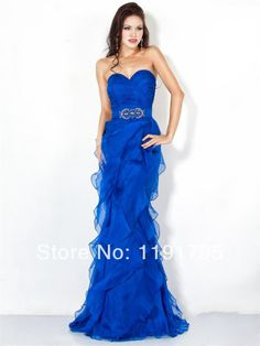 2014 New style handmade modern strapless blue tulle  long  prom dresses with beading  for party,wedding $109.00