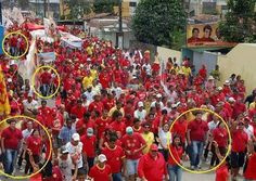 Here is a prime example of why you cannot trust the Mainstream Media. This photo of the Chavez celebration was doctored to make the crowd look at least 5 times larger than it really was. Notice the circled photos? They are of the same person. The photos were laid side by side to make it appear that the gathering was at least 5 times larger than it really was. CNN gets the Liar of the Year award, second only to Barack Obama, the runner-up.