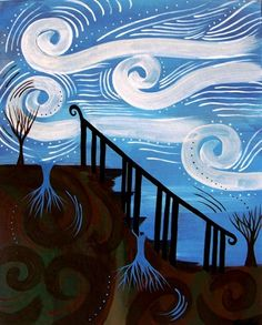 The Bridge Between Earth and Sky Contemporary Folk Art Painting    ConsciousArtStudios - Painting on ArtFire