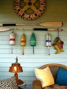 Nautical Gallery Wall for an Outdoor Porch / Patio: http://www.completely-coastal.com/2015/03/coastal-nautical-cool-gallery-wall-ideas.html