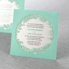 Enchanted Forest Laser Cut Pocket Green by B Wedding Invitations