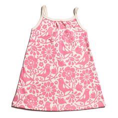 Birds & Flowers Pinwheel Baby Dress - Pink