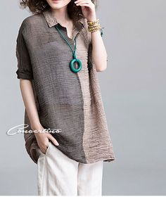 loose linen blouse shirt Plus size casual linen by Concertino, $66.00
