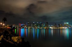 Downtown at night from across the SD Harbor pinned from I love California