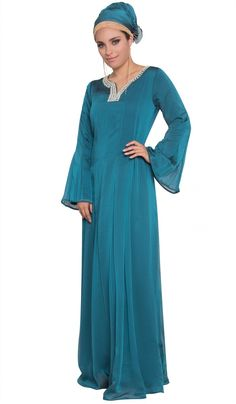 Abda Teal Kundan Beaded Long Iridescent Abaya Dress with Hijab | abayas, kaftans, maxi dresses and long sleeve dresses for women | Islamic Dresses at Artizara.com