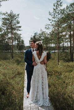 This dress could be custom made, there are no extra cost to do custom size and color. Outdoor Wedding Dress, Open Back Wedding Dress, White Wedding Gowns, Bohemian Wedding Dresses, Bridal Dresses, Bohemian Weddings, Bohemian Bride, Mountain Wedding Dresses, Casual Lace Wedding Dress