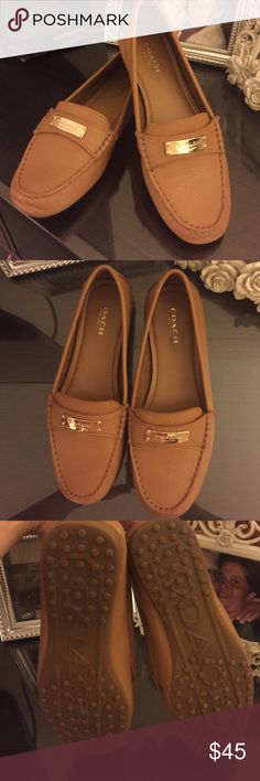 Coach loafers worn twice Coach loafers only worn twice they are too big for my feet unfortunately but comfortable and stylish wish I had bigger feet Coach Shoes Flats & Loafers