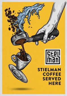 Illustration and poster design for Stielman coffee by Ralf van de Kerkhof / resu . - Illustration and poster design for Stielman coffee by Ralf van de Kerkhof / resuk.nl old illustrat - Coffee Menu, Coffee Poster, Coffee Cafe, Coffee Humor, Coffee Quotes, Coffee Break, Night Coffee, Espresso Coffee, Starbucks Coffee