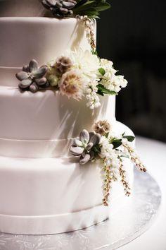 Cake Flowers - succulents, blushing bride, etc. #Wedding Cake Photography By / http://alexandrameseke.com,Floral Design By / http://rebeccashepherdfloraldesign.com