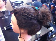 braid! Cute in updos, messy buns, or pinned back :)