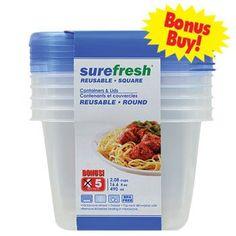 Sure Fresh Plastic Dry-Food Storage Containers 5-pc. Set  sc 1 st  Pinterest & Bulk Sure Fresh Plastic Dry-Food Storage Containers 5-pc. Sets at ...