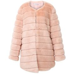 Storets Luxe Glam Faux Mink Fur Coat (€170) ❤ liked on Polyvore featuring outerwear, coats, jackets, casaco, storets, mink pink fur coat, mink coat, pink coat and faux coat