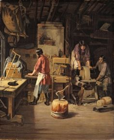 Plakhov (Plokhov), Lavr Kuzmich (Kozmich) The Joiner's Shop 1845 Oil on canvas x Imperial Russia, Oil On Canvas, Artwork, Painting, Image, Shop, Art, Work Of Art, Auguste Rodin Artwork