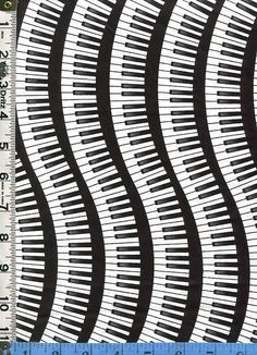 Fabric Timeless Piano Keys keyboard Wavy Curvy  Stripes black white music pianist by FabricSmart, $10.60 USD