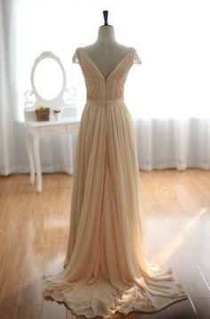 Champagne Chiffon Pearls Beaded Cap sleeves Chiffon Wedding Dress Bridal Gown Prom Dress. $329.00, via Etsy.
