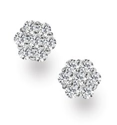 Lab Diamond Cluster Earrings H/SI Quality set in White Gold - Item Lab Diamonds, White Gold Diamonds, Cluster Earrings, Women's Earrings, Mens Diamond Earrings, Diamond Stores, Platinum Jewelry, Conflict Free Diamonds, Gemstones
