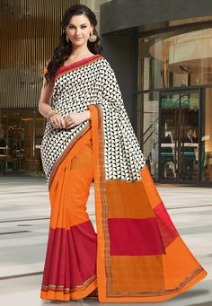 A vibrant looking Off white& Orange Color Mysore SilK Designer half saree showcasing a modish print and simple zari embellished border #MysoreSilk #Sarees