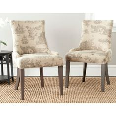 Safavieh En Vogue Dining Lester Taupe Print Side Chairs (Set of 2)