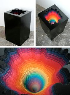 Cool rainbow sculpture- reminds me of a moddern Alice in Wonderland rabbit hole