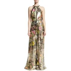 Monique Lhuillier Floral Metallic Lam& Sleeveless Jumpsuit (261,430 INR) ❤ liked on Polyvore featuring jumpsuits, multi, halter jumpsuit, metallic jumpsuit, halter-neck tops, floral wide leg jumpsuit and jump suit