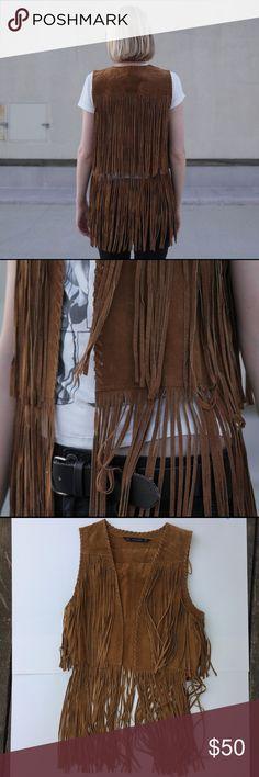 Zara Brown Fringe Vest Great condition, size medium! Only worn twice. Zara Jackets & Coats Vests