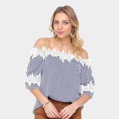 a5ce9ac266 Blusa Lily Fashion Ombro a Ombro Listrada Feminina - Marinho - Compre Agora