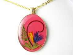 Nature's Grace Pressed Flower Pendant Real by PressedFlowerJewelry
