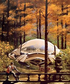 I like the idea of a gold, slightly steampunk pod to fly around in.. :-)