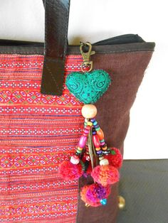 Items similar to Love You Heart Bag Charm Embroidered Heart Zipper Pull Embroidered Heart Keychain Handmade Gift Ideas Gift for Best Friend on Etsy Pom Pom Purse, Heart Keyring, Fabric Hearts, Tassel Keychain, Beaded Purses, Best Friend Gifts, Wooden Beads, Valentine Day Gifts, Valentines