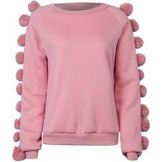 Pink Pom Pom Embellished Sleeve Basic Sweatshirt (105 BRL) ❤ liked on Polyvore featuring tops, hoodies, sweatshirts, red top, pink sweatshirts, embellished top, decorated sweatshirts and sleeve top
