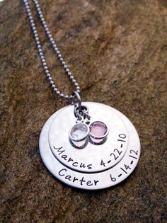 Layered Pendant with Channel Drop Birthstones - Personalized Necklace - Mother's Necklace