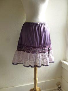 Glam Garb Ruffle Slip Skirt Lavender Purple M/L Handmade USA Romantic Victorian Steampunk Vintage Up-cycled Hand Dyed OOAK Retro Rockabilly Burlesque www.glamgarb.com www.etsy.com/shop/glamgarb