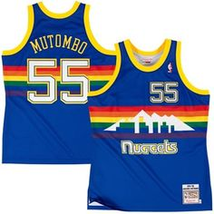 2e03c6a3661 Mens Denver Nuggets Dikembe Mutombo Mitchell   Ness Navy Blue Authentic  Basketball Jersey