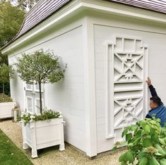 Finally getting around to adding trellis detail to sides of my little potting shed. Excited to work on these little gardens and space to enjoy come spring? Outdoor Sheds, Outdoor Rooms, Outdoor Gardens, Outdoor Living, Outdoor Decor, Outdoor Fun, Garden Tool Shed, Garden Paths, Garden Sheds