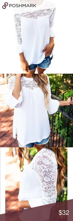 ✨White Chiffon & Lace Blouse W/ Flared Sleeves✨ Super pretty and chic white chiffon blouse with lace detail! 3/4 length flared bell sleeves, blousy chiffon with lace detail on upper part of top. Pearl button closure. Cotton/polyester fabric. Little ruffle detail at bust. Such a great top for your fall wardrobe!! Cute worn casual with jeans or dress up with skirt or trousers and heels! ❤️Brand new from manufacturer. Boutique Tops Blouses