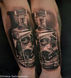 Tattoo Bottle Skull Flasche Totenkopf