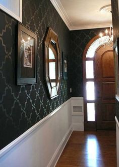 Great idea for a long hall!  Enough interest but the walls aren't weighing down on you.