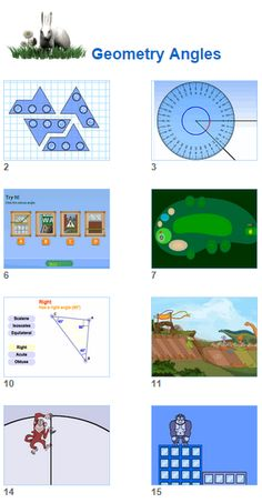 Math Geometry Angles- angle activities protrractors triangle properties and games for kids and their teachers from Johnnie's Math Page