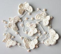 crochet butterfly lariat necklace