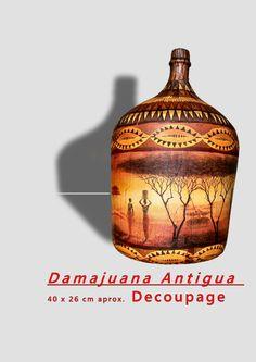 Bottle Painting, Bottle Art, Bottle Crafts, Glass Jug, Glass Bottles, Wine Glass, Decoupage Glass, Altered Bottles, Ideas