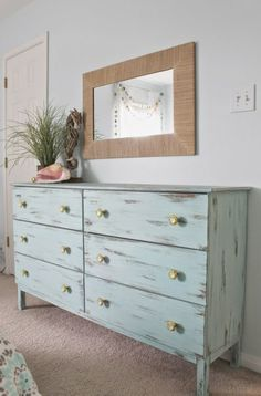 Aqua painted unfinished dresser from Ikea. Aqua painted unfinished dresser from Ikea. Distressed finish, paired with custom yellow knobs.blo… Beach Home Decor Distressed Bedroom Furniture, White Furniture, Distressed Dresser, Beach Furniture, Modern Furniture, Luxury Furniture, Painted Furniture, Repurposed Furniture, Rustic Furniture