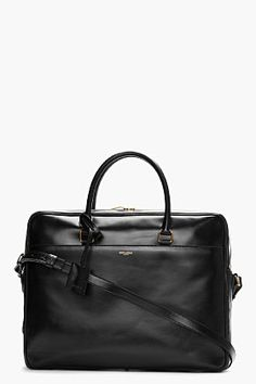 SAINT LAURENT Black buffed leather briefcase Maybe a bit masculine but I like it.