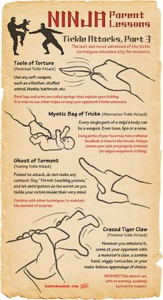 Ninja Parent Lessons Tickle Attacks Part 3 Advanced Techniques Tools of Torture Mystic Bag of Tricks Ghost of Torment Crazed Tiger Claw
