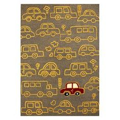 Hand-tufted wool rug with car motif.   Product: RugConstruction Material: 100% WoolColor: GrayFeatures:  Made in IndiaPlayful and fun design Note: Please be aware that actual colors may vary from those shown on your screen. Accent rugs may also not show the entire pattern that the corresponding area rugs have.Cleaning and Care: Spot clean with mild detergent and water. Professional cleaning recommended.