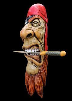 Wood pirate buccaneer face by damian Tree Carving, Wood Carving Art, Wood Art, Art Pierre, Wood Carving Patterns, Nautical Art, Wood Creations, Whittling, Wood Sculpture