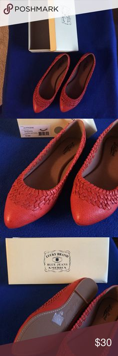 Lucky Brand Orange Flats Never worn. Leather upper. Man made lining and sole. Lucky Brand Shoes Flats & Loafers