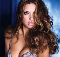 highlights for brunettes adriana lima victorias secret hair